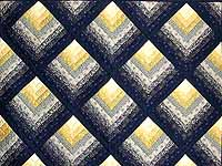 Navy and Yellow Chevron Log Cabin Quilt