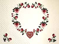King Red Paisley Heart of Roses Quilt