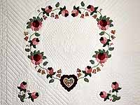 Brick and Salmon Heart of Roses Quilt