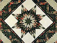 Green and Ripe Peach Lone Star Log Cabin Quilt