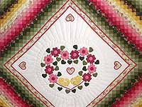 King Rose Peach and Gold Sweetheart Sunshine and Shadow Quilt