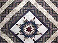 Navy and Burgundy Lone Star Log Cabin Quilt