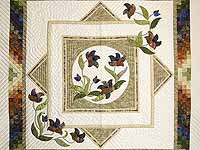 Neutrals Gold Plum and Green Rainbow Reflections Quilt