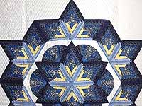 Navy and Yellow Broken Star with Fans Quilt