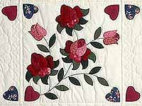 Burgundy and Green Spring Roses Quilt