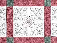 Rose and Green Antique Cross Stitch Quilt
