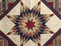 Navy Wheat and Multi Lone Star Log Cabin Quilt