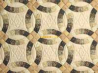 Tan and Earthtones Double Wedding Ring Quilt