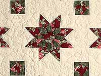 Burgundy Rose and Green Dahlia Star Quilt with Cones