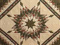 Dark Green and Brick Red Lone Star Trip Quilt