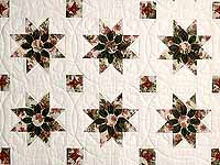 King-size Rose and Green Dahlia Quilt