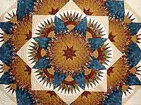 Blue Gold and Brown Compass Star Quilt