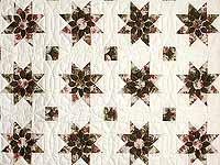 Burgundy Moss and Rose Dahlia Star Quilt with Cones