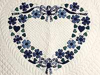 Navy and Blue Heart Bouquet Quilt