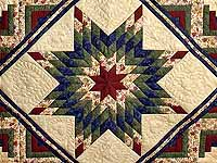 Navy Burgundy Green and Tan Lone Star Log Cabin Quilt