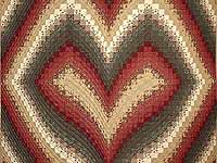 King Dark Green Burgundy and Tan Bargello Heart Quilt