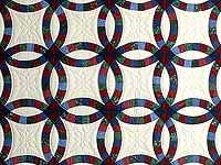 Blue Burgundy and Multicolor Double Wedding Ring Quilt