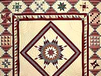 King Plaid Burgundy and Tan Lone Star Sampler Quilt
