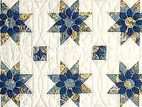 Blue Gold and Cream Dahlia Star Quilt