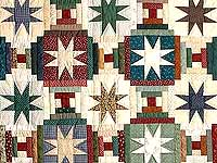 Dark Blue and Multicolor Court Steps Stars Quilt