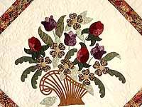 King Rose Plum and Gold Spring Basket Quilt