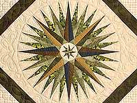 Navy Dark Green Gold and Tan Mariners Compass Quilt