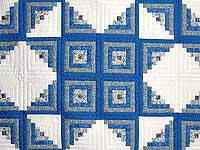 Blue Yellow and Cream Log Cabin Star Quilt