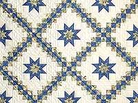 Blue and Pale Yellow Star Irish Chain Quilt
