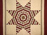 Burgundy Tan and Sage Massachusetts Star Quilt
