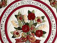Burgundy and Sage Rose of Sharon Quilt