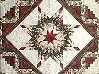 Green and Red Lone Star Log Cabin Quilt