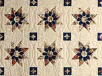 Burgundy Navy and Tan Dahlia Star Quilt