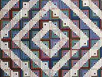 Extra Fine Blue Red and Multi Log Cabin Quilt