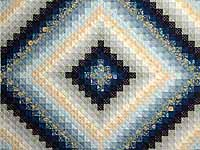 Extra Fine Navy Blue and Gold Trip Around the World Quilt