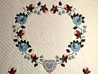 Powder Blue and Rose Heart of Roses Quilt
