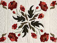 Paisley Red and Green Poppy Fields Quilt