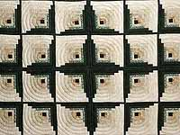 Dark Green Tan and Beige Monticello Log Cabin Quilt