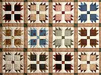 Green Burgundy and Multicolor Bears Paw Quilt