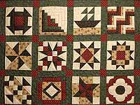 Green Burgundy and Tan Patchwork Sampler Quilt