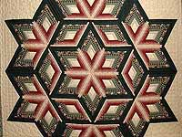 Green and Burgundy Diamond Star Log Cabin Quilt