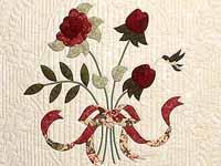 Tan Burgundy Rose and Moss Lancaster Treasures Quilt