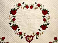 King Red Moss and Gold Heart of Roses Quilt