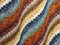 King Blues Bronze and Gold Bargello Wave Quilt