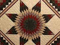 Dark Green Red and Tan Extra Fine Lone Star Trip Quilt