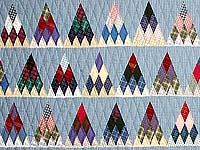 Plaid Navy Blue and Multi Thousand Pyramids Quilt
