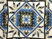 Blue Cream and Dark Green Commons Star Medallion Quilt