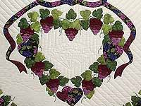 Burgundy Green and Cream Love in the Vineyard Quilt