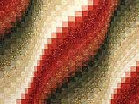 Coral Moss and Tan Bargello Wave Quilt