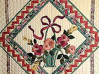 Green and Rose Garden Basket Applique Quilt