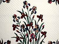 Burgundy and Navy Iris Applique Quilt
